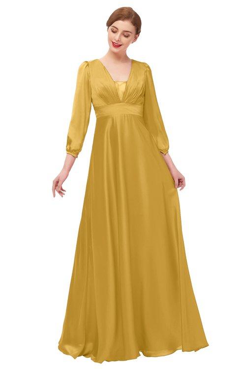 ColsBM Andie Gold Bridesmaid Dresses Ruching Modest Zipper Floor Length A-line V-neck