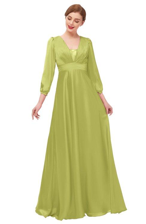 ColsBM Andie Green Oasis Bridesmaid Dresses Ruching Modest Zipper Floor Length A-line V-neck
