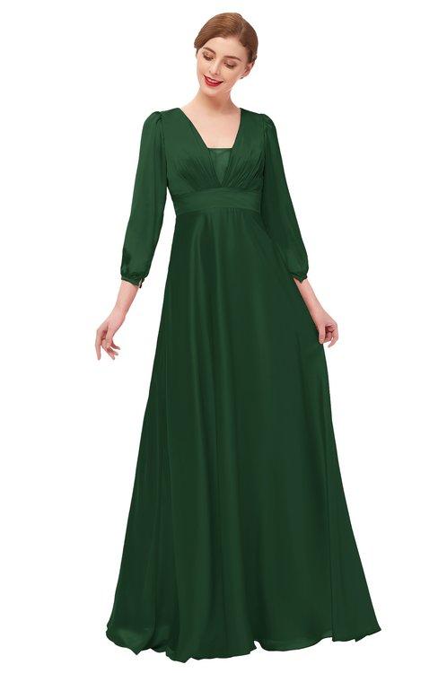 ColsBM Andie Hunter Green Bridesmaid Dresses Ruching Modest Zipper Floor Length A-line V-neck
