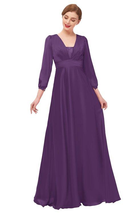 ColsBM Andie Imperial Purple Bridesmaid Dresses Ruching Modest Zipper Floor Length A-line V-neck