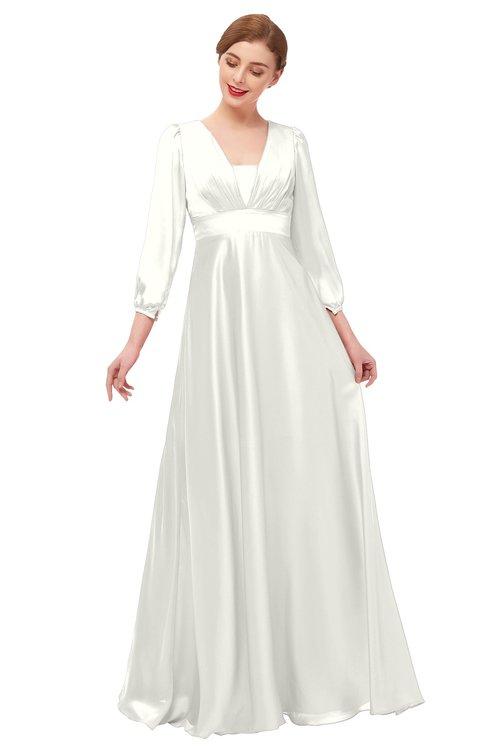 ColsBM Andie Ivory Bridesmaid Dresses Ruching Modest Zipper Floor Length A-line V-neck