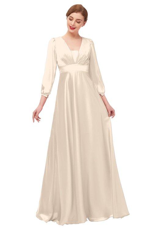 ColsBM Andie Linen Bridesmaid Dresses Ruching Modest Zipper Floor Length A-line V-neck