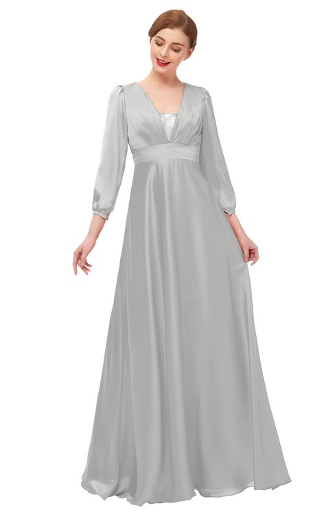 ColsBM Andie Micro Chip Bridesmaid Dresses Ruching Modest Zipper Floor Length A-line V-neck