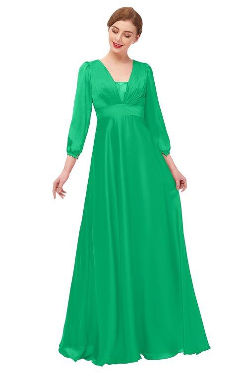 ColsBM Andie Mint Bridesmaid Dresses Ruching Modest Zipper Floor Length A-line V-neck