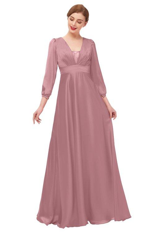 ColsBM Andie Nectar Pink Bridesmaid Dresses Ruching Modest Zipper Floor Length A-line V-neck