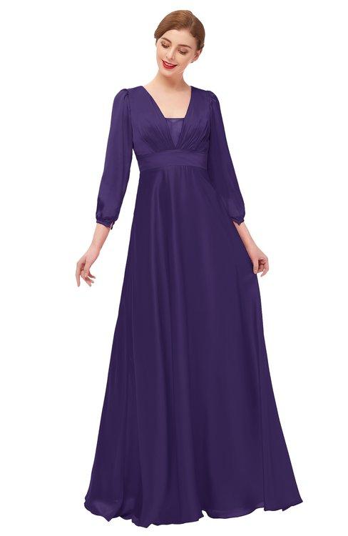 ColsBM Andie Parachute Purple Bridesmaid Dresses Ruching Modest Zipper Floor Length A-line V-neck