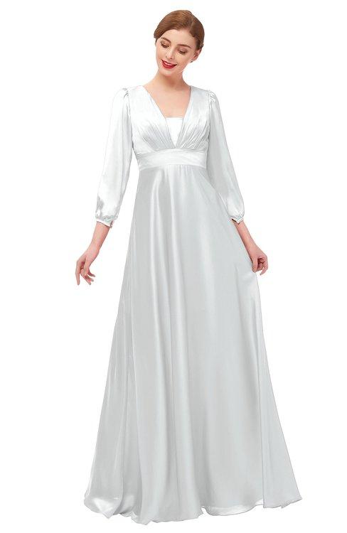 ColsBM Andie Platinum Bridesmaid Dresses Ruching Modest Zipper Floor Length A-line V-neck