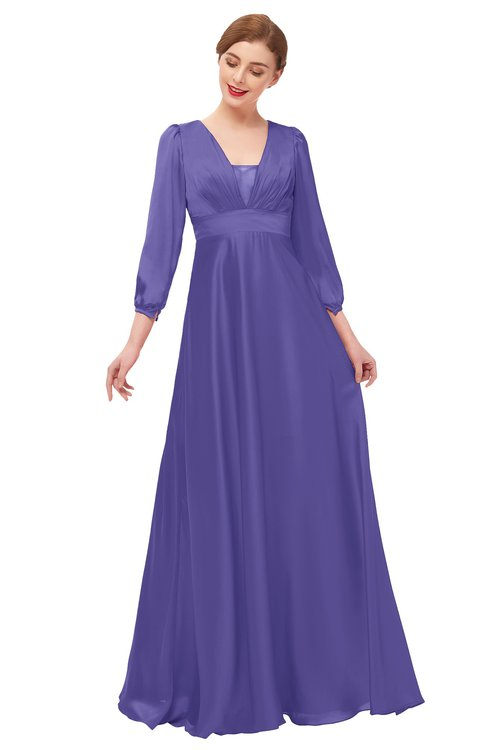 ColsBM Andie Purple Opulence Bridesmaid Dresses Ruching Modest Zipper Floor Length A-line V-neck