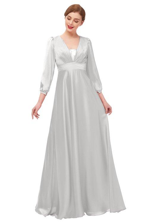 ColsBM Andie Rainy Grey Bridesmaid Dresses Ruching Modest Zipper Floor Length A-line V-neck