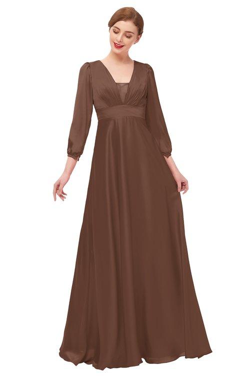 ColsBM Andie Root Beer Bridesmaid Dresses Ruching Modest Zipper Floor Length A-line V-neck