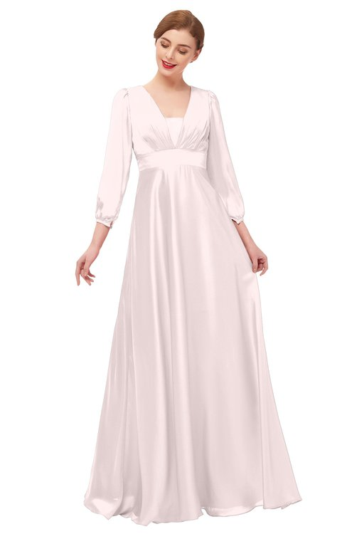 ColsBM Andie Rosewater Pink Bridesmaid Dresses Ruching Modest Zipper Floor Length A-line V-neck