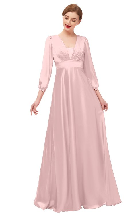 ColsBM Andie Veiled Rose Bridesmaid Dresses Ruching Modest Zipper Floor Length A-line V-neck