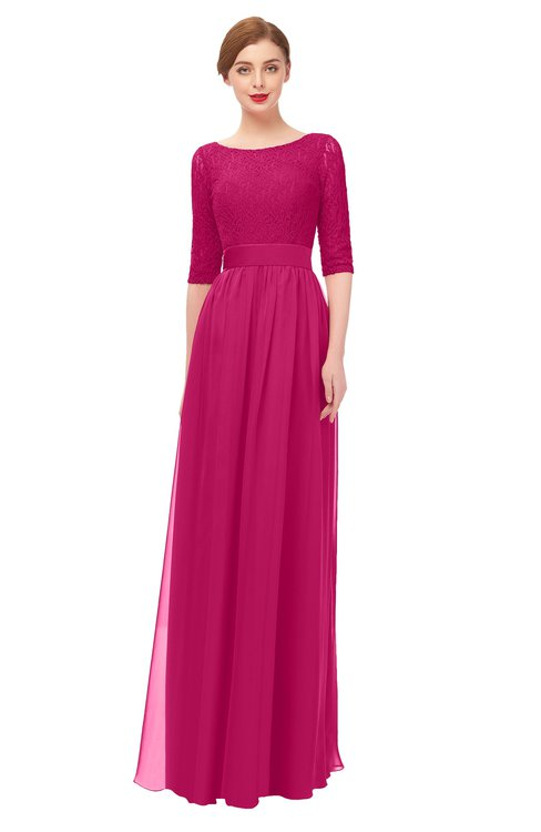 ColsBM Lola Beetroot Purple Bridesmaid Dresses Zip up Boat A-line Half Length Sleeve Modest Lace
