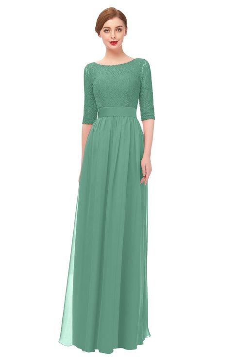 ColsBM Lola Beryl Green Bridesmaid Dresses Zip up Boat A-line Half Length Sleeve Modest Lace