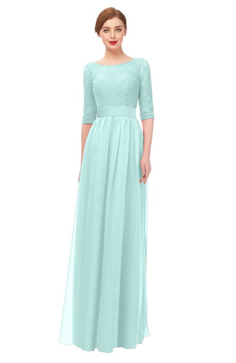 ColsBM Lola Blue Glass Bridesmaid Dresses Zip up Boat A-line Half Length Sleeve Modest Lace