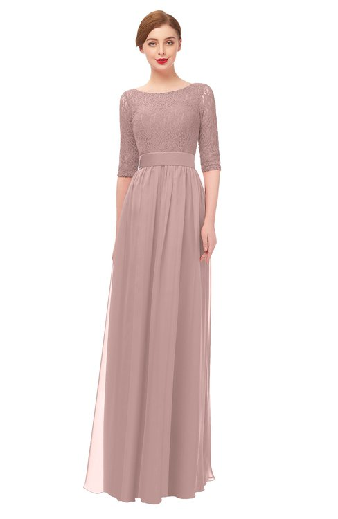 ColsBM Lola Blush Pink Bridesmaid Dresses Zip up Boat A-line Half Length Sleeve Modest Lace