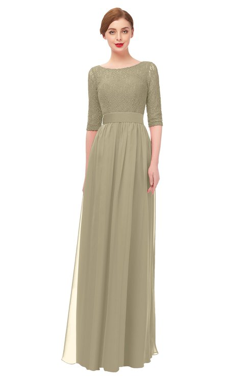 ColsBM Lola Candied Ginger Bridesmaid Dresses Zip up Boat A-line Half Length Sleeve Modest Lace