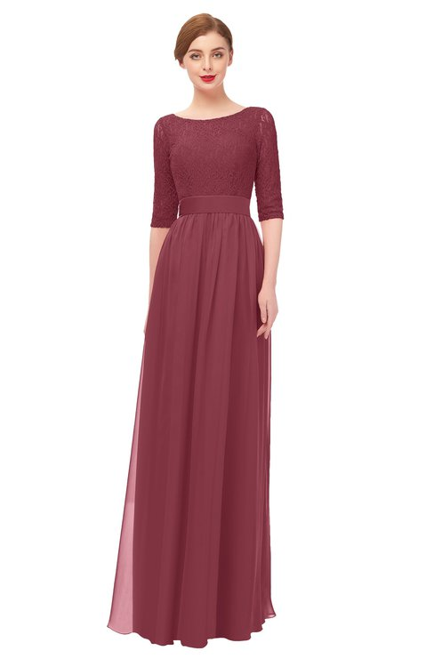 ColsBM Lola Wine Bridesmaid Dresses Zip up Boat A-line Half Length Sleeve Modest Lace