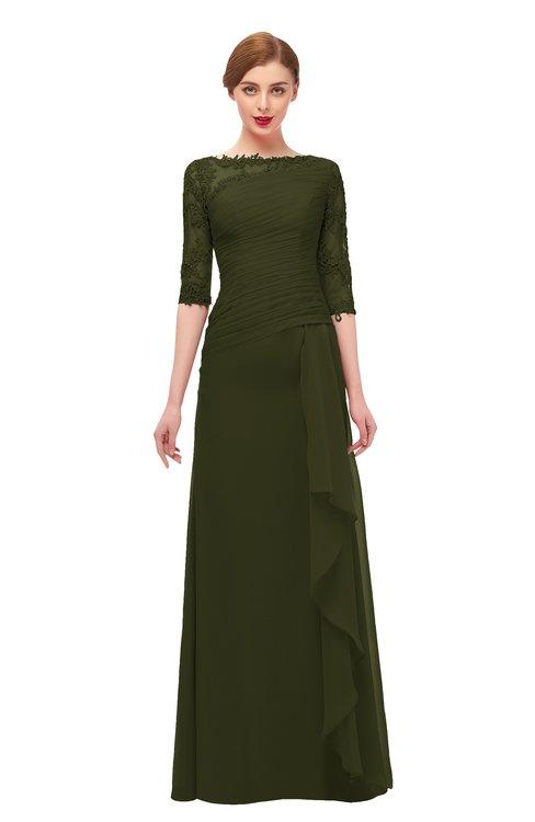 ColsBM Lorin Beech Bridesmaid Dresses Column Floor Length Zipper Elbow Length Sleeve Lace Mature