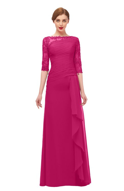 ColsBM Lorin Beetroot Purple Bridesmaid Dresses Column Floor Length Zipper Elbow Length Sleeve Lace Mature