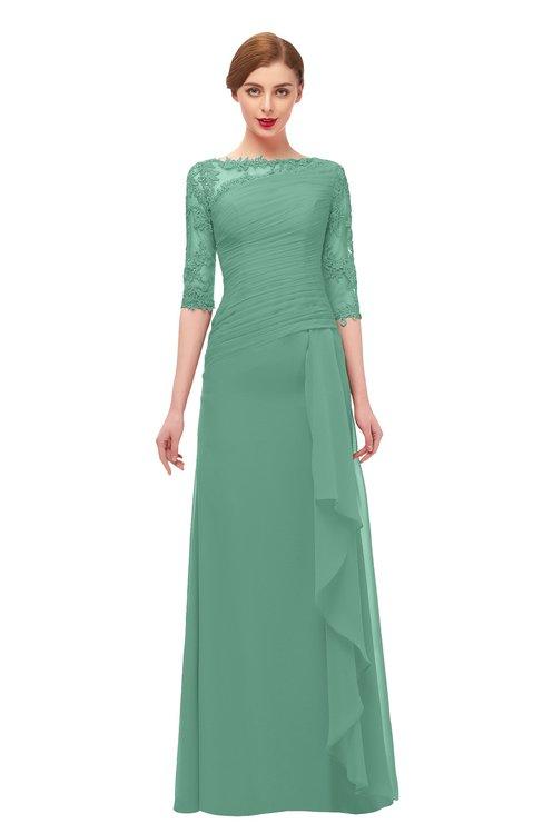 ColsBM Lorin Bristol Blue Bridesmaid Dresses Column Floor Length Zipper Elbow Length Sleeve Lace Mature