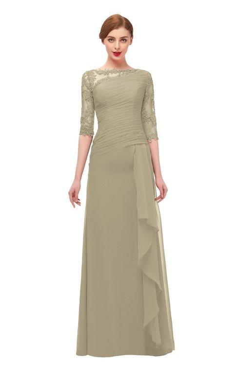 ColsBM Lorin Candied Ginger Bridesmaid Dresses Column Floor Length Zipper Elbow Length Sleeve Lace Mature