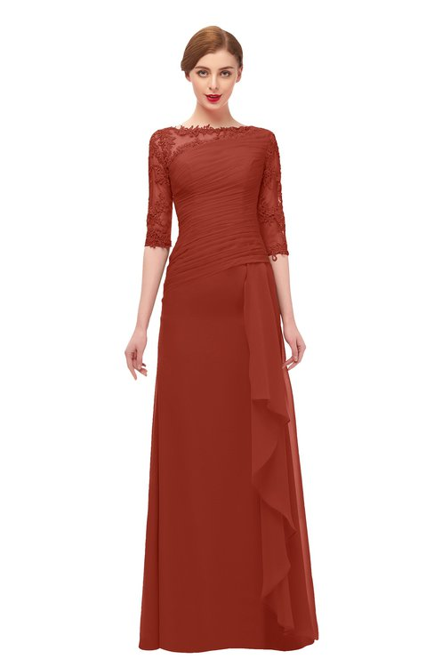 ColsBM Lorin Rust Bridesmaid Dresses Column Floor Length Zipper Elbow Length Sleeve Lace Mature