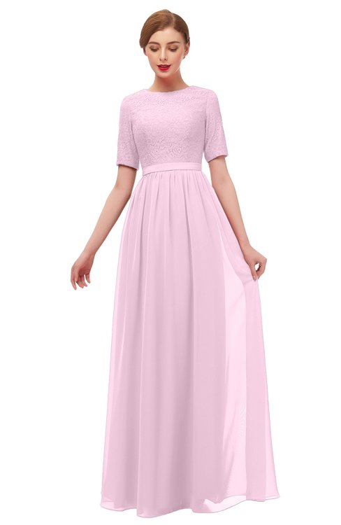 ColsBM Ansley Baby Pink Bridesmaid Dresses Modest Lace Jewel A-line Elbow Length Sleeve Zip up