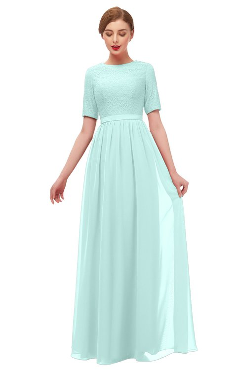ColsBM Ansley Blue Glass Bridesmaid Dresses Modest Lace Jewel A-line Elbow Length Sleeve Zip up