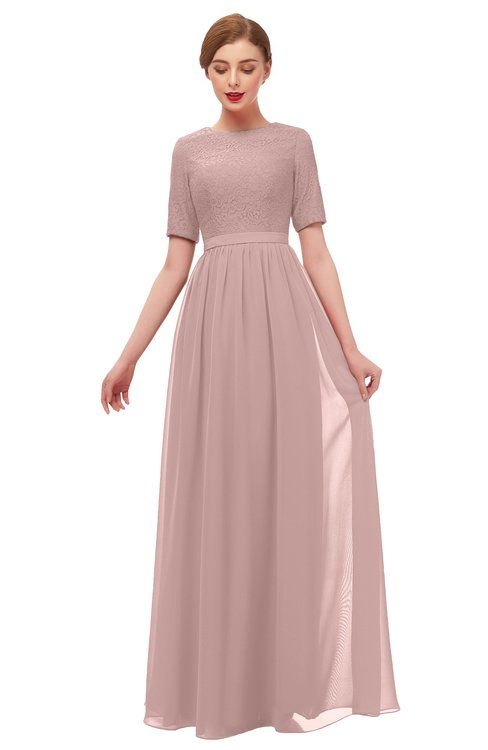 ColsBM Ansley Blush Pink Bridesmaid Dresses Modest Lace Jewel A-line Elbow Length Sleeve Zip up