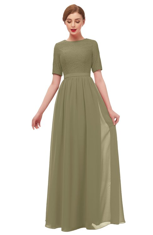 ColsBM Ansley Boa Bridesmaid Dresses Modest Lace Jewel A-line Elbow Length Sleeve Zip up