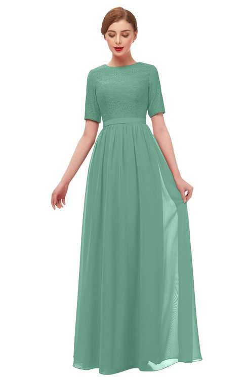 ColsBM Ansley Bristol Blue Bridesmaid Dresses Modest Lace Jewel A-line Elbow Length Sleeve Zip up