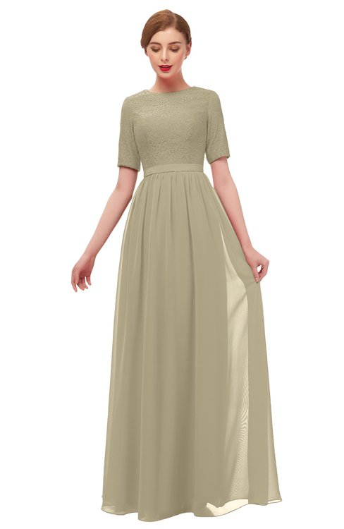 ColsBM Ansley Candied Ginger Bridesmaid Dresses Modest Lace Jewel A-line Elbow Length Sleeve Zip up