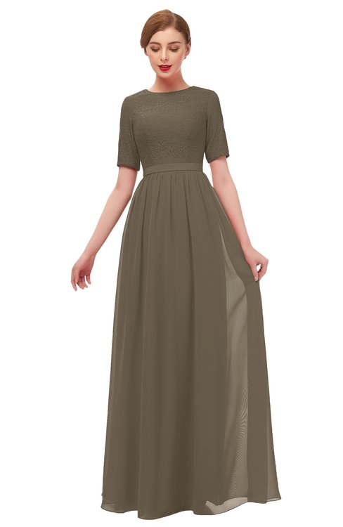 ColsBM Ansley Carafe Brown Bridesmaid Dresses Modest Lace Jewel A-line Elbow Length Sleeve Zip up