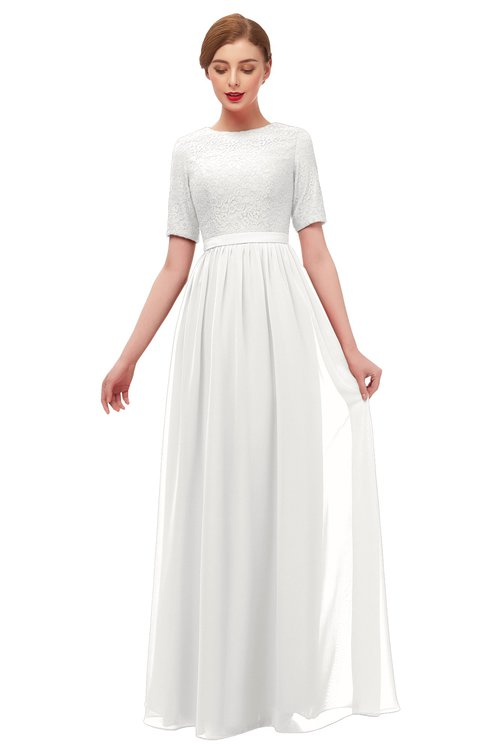 ColsBM Ansley Cloud White Bridesmaid Dresses Modest Lace Jewel A-line Elbow Length Sleeve Zip up