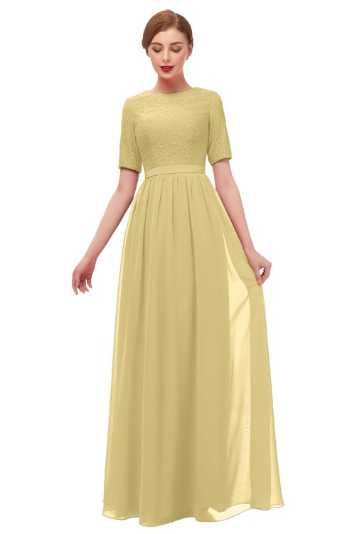 ColsBM Ansley Gold Bridesmaid Dresses Modest Lace Jewel A-line Elbow Length Sleeve Zip up