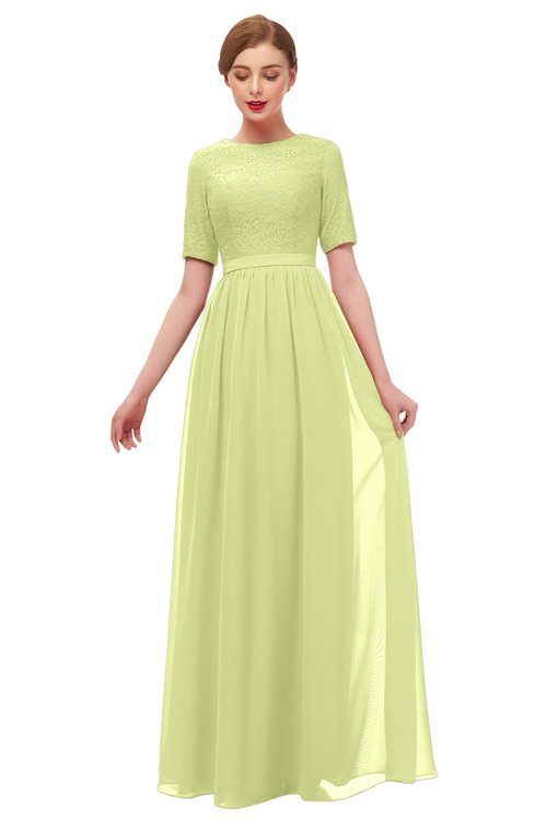 ColsBM Ansley Lime Sherbet Bridesmaid Dresses Modest Lace Jewel A-line Elbow Length Sleeve Zip up