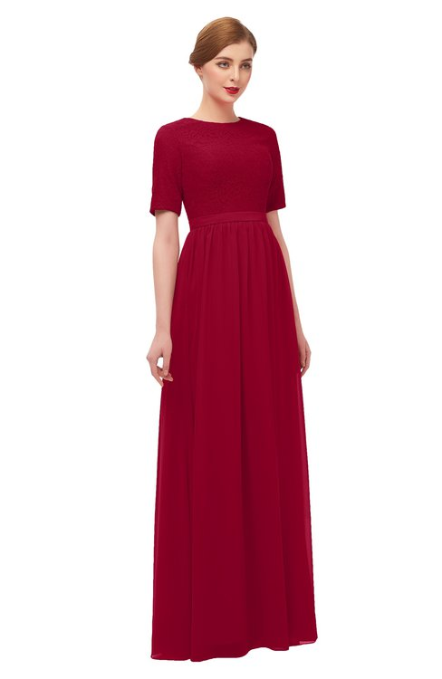 ff319bf962 ... ColsBM Ansley Maroon Bridesmaid Dresses Modest Lace Jewel A-line Elbow  Length Sleeve Zip up ...