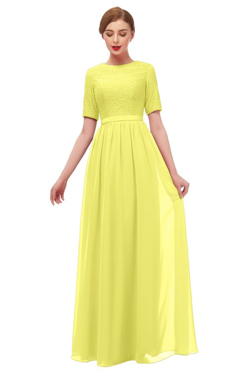 ColsBM Ansley Pale Yellow Bridesmaid Dresses Modest Lace Jewel A-line Elbow Length Sleeve Zip up