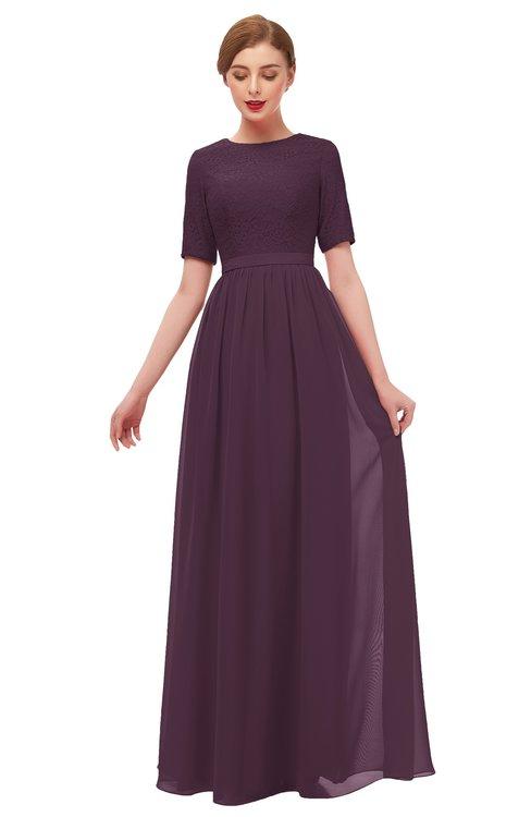 ColsBM Ansley Plum Bridesmaid Dresses Modest Lace Jewel A-line Elbow Length Sleeve Zip up