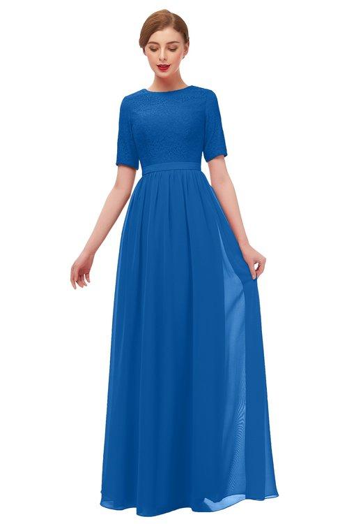 ColsBM Ansley Royal Blue Bridesmaid Dresses Modest Lace Jewel A-line Elbow Length Sleeve Zip up