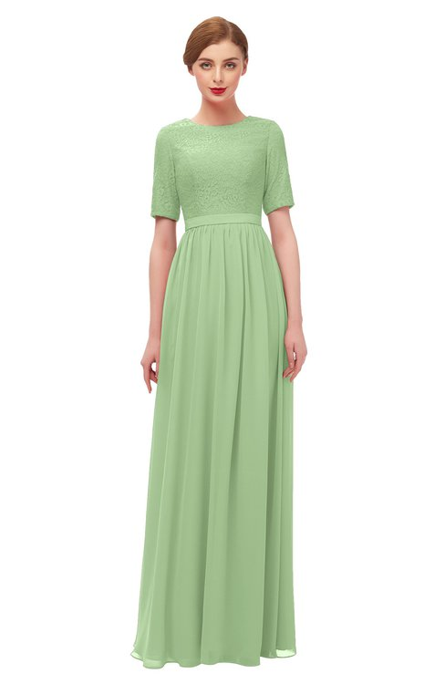 c84d4eb7566b ... ColsBM Ansley Sage Green Bridesmaid Dresses Modest Lace Jewel A-line  Elbow Length Sleeve Zip ...