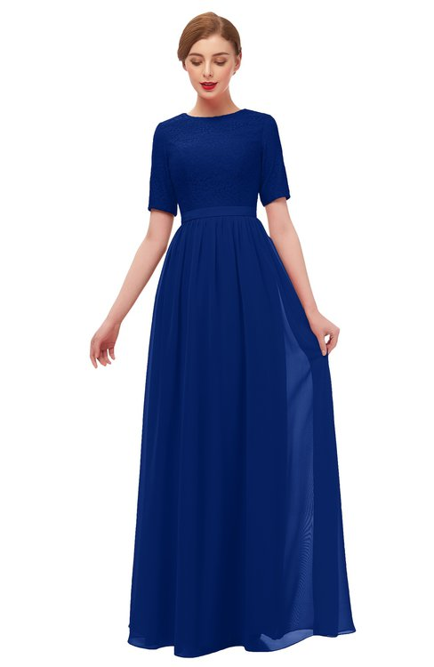 ColsBM Ansley Sodalite Blue Bridesmaid Dresses Modest Lace Jewel A-line Elbow Length Sleeve Zip up