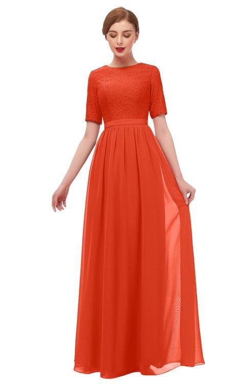 ColsBM Ansley Tangerine Tango Bridesmaid Dresses Modest Lace Jewel A-line Elbow Length Sleeve Zip up