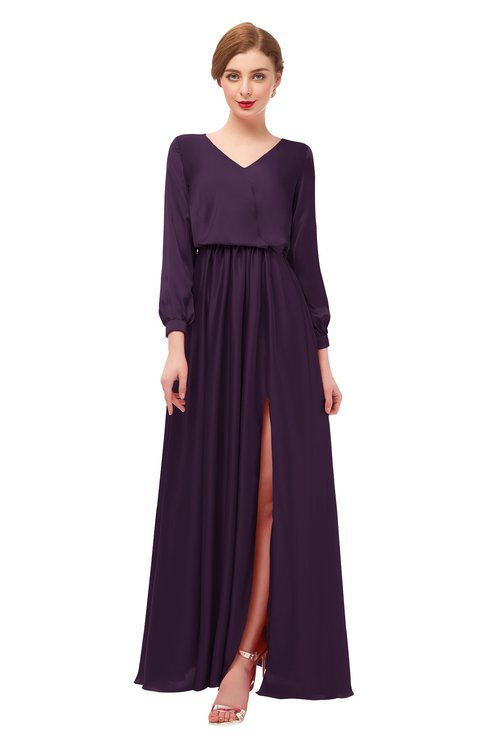 ColsBM Carey Blackberry Wine Bridesmaid Dresses Long Sleeve A-line Glamorous Split-Front Floor Length V-neck