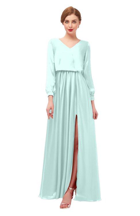 ColsBM Carey Blue Glass Bridesmaid Dresses Long Sleeve A-line Glamorous Split-Front Floor Length V-neck