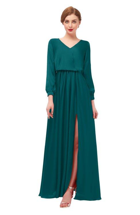 ColsBM Carey Blue Green Bridesmaid Dresses Long Sleeve A-line Glamorous Split-Front Floor Length V-neck