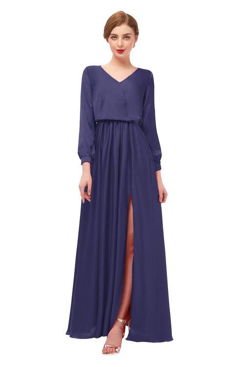 ColsBM Carey Blue Ribbon Bridesmaid Dresses Long Sleeve A-line Glamorous Split-Front Floor Length V-neck