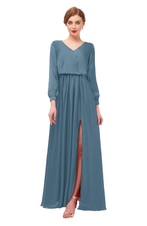 ColsBM Carey Bluestone Bridesmaid Dresses Long Sleeve A-line Glamorous Split-Front Floor Length V-neck