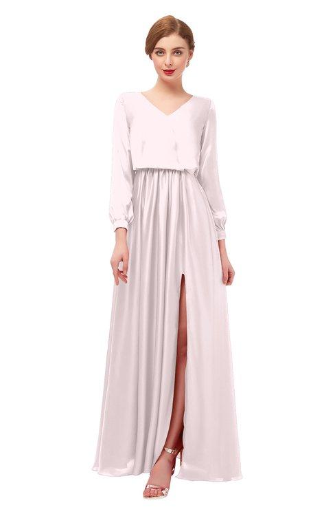 ColsBM Carey Blush Bridesmaid Dresses Long Sleeve A-line Glamorous Split-Front Floor Length V-neck